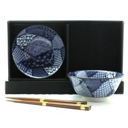 Quilt 2 Bowl Set/chopsticks