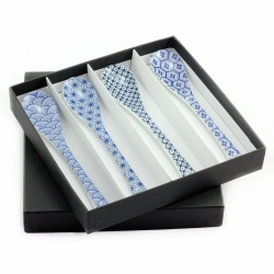Blue Geo Ceramic Spoon Set (4)