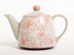 White Kusa RED Teapot