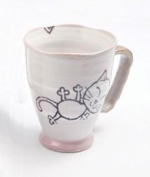 Crayon Cat Pink Large Mug