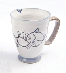 Crayon Cat Blue Large Mug