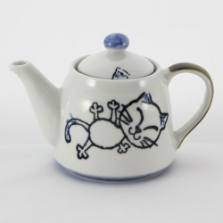 Crayon Cat Blue Teapot - Click for more info