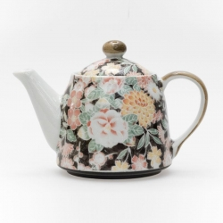 Hana Yuzen Black Teapot - Click for more info