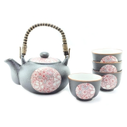 Shinshiki Red Tea Set *4 Cups - Click for more info