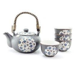 Blue Rose Tea Set *4 Cups
