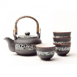Black Tenmoku Tea Set *4 Cups