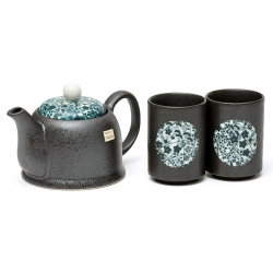 Black Tenmoku 2 Cup Tea Set - Click for more info